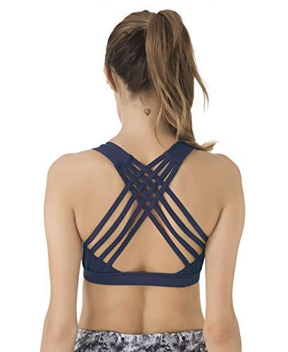 QUEENIEKE Women's Medium Support Strappy Back Energy Sport Bra Cotton Feel Size XXL Color Dark Navy