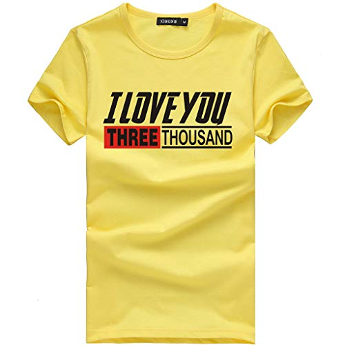 WOZOW Kurzarm T-Shirts Men Slogan I Love You 3000 Times for Ironman Letters Muster Print Druck Blouse Solid O Ausschnitt Loose Lose Geschenk...