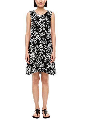 s.Oliver Damen Kurzes Kleid aus Jersey Black AOP Flowers 38