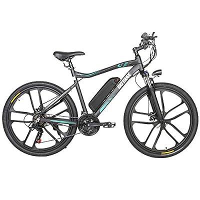 "Gotrax Electric Bike 26"" Mountain Bicycle, 20MPH & 50 Mile Range, Shimano 21-Speed Commuter Electric, 350W Motor BMX Bicycle Travel Commuting E-Bike (Black)"
