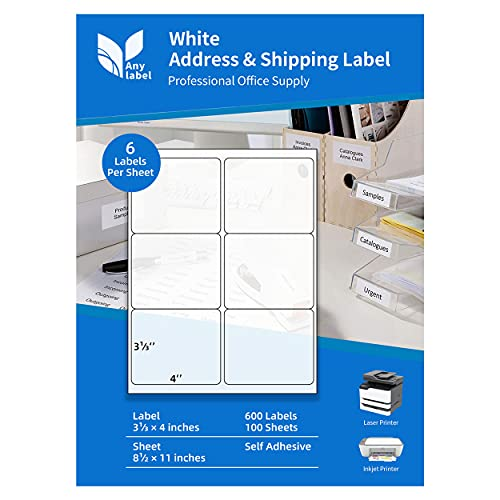 "Anylabel 3-1/3"" x 4"" Shipping Address FBA Labels for Laser & Inkjet Printer - 6 Per Page Mailing Labels for Packages Permanent Adhesive Easy Peel (100 Sheets, 600 Labels)"