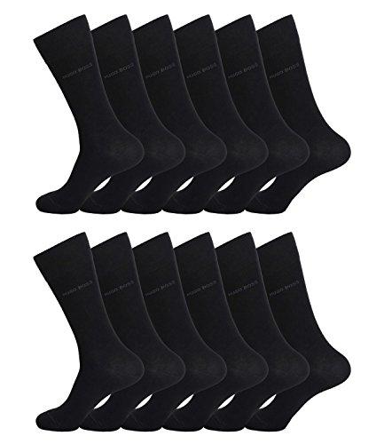 HUGO BOSS Herren Socken Strümpfe Business Allround RS SP 50274157 12 Paar, Farbe:Schwarz;Sockengröße:43-46;Artikel:-001 black