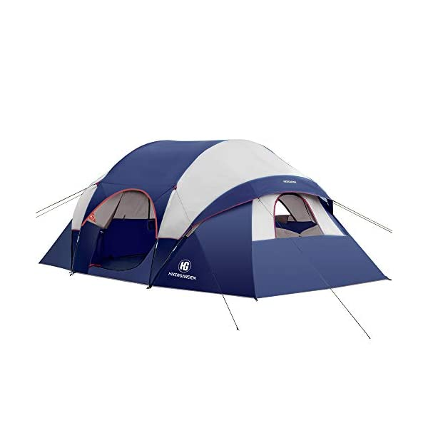 2021-Upgraded-Camping-Tent-HIKERGARDEN-610-Person-Tent-for-Camping-Waterproof-Family-Tent-Windproof-Fabric-Easy-Setup-with-Large-Mesh-for-Ventilation-Double-Layer-and-Divided-Curtain