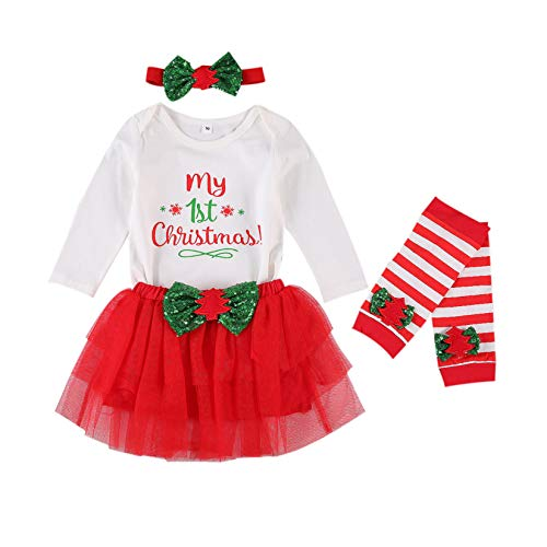 Baby Girl My First Christmas Outfit Ruffle Sleeve Romper Tulle Tutu Skirt Headband Christmas Clothes Set (My First Christmas 1, 12-18 Months)