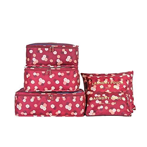 Fablcrew Komplettset mit verschiedenen Taschen, 6 Stück Aufbewahrungstasche für Reise, Würfel, Organizer für Gepäck, Aufbewahrungstaschen für Koffer 6 Tailles Vin Rouge