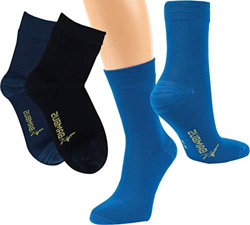 Vitasox Kinder Socken aus Bambus, verstärkte Belastungszonen, sehr weich auf der Haut, atmungsaktiv, für Jungs & Jugendliche | marine, jeans, dunkelblau | 23-26 | 6 Paar