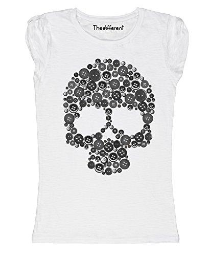 New T-Shirt Donna Fiammata Teschio Bottoni Fashion Idea Regalo