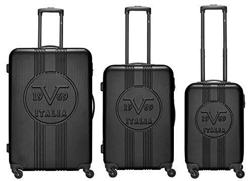 19V69 Italia 3er Koffer-Set Milano - Hartschalenkoffer (ABS) mit 4 Rollen und Zahlenschloss: Markenkoffer in den Größen M, L & XL (schwarz)