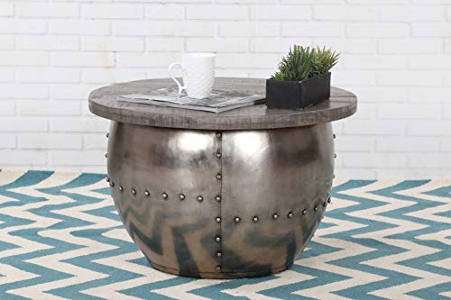DuNord Design salontafel rond metaal industrieel design grijs massief hout 68 cm met vak