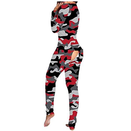 Damen Overall , Check Printed V-Ausschnitt Button Open Jumpsuit , Winterpyjamas , Overall One Piece Pyjama Pyjamas Trainingsanzug Hausanzug(Camouflage-15,M)