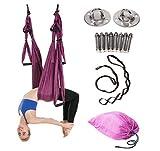 Aerial Hamaca de Yoga,Yoga Swing para Yoga antigravedad, Ejercicios de inversión, Flexibilidad Mejorada y Resistencia del núcleo - Accesorios de Montaje incluidos (Morado oscuro)