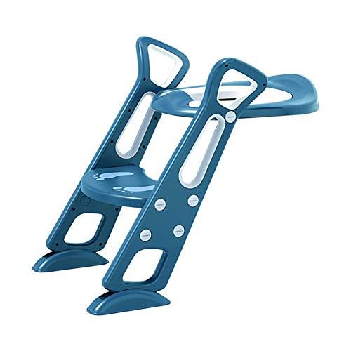 bluesa Adaptador WC Niños con Escalera Asiento De Inodoro para Niños, Asiento Aseo Escalera Bebe Plegable, para Orinal Infantil Formación Seguro para IR Al Baño - 38 x 7.5 x 59 cm