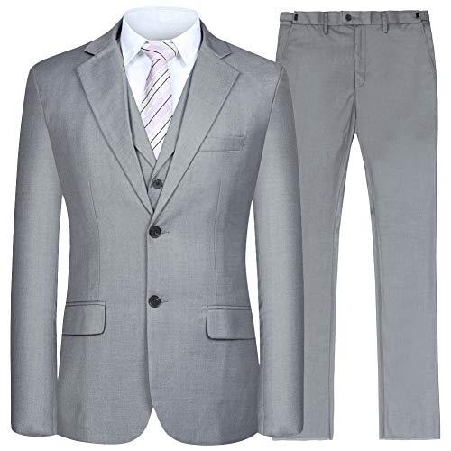 Men's Suit 3 Piece Busines Classic Solid Regular Fit Blazer Coat Vest Pants Set(Deep Gray,46)