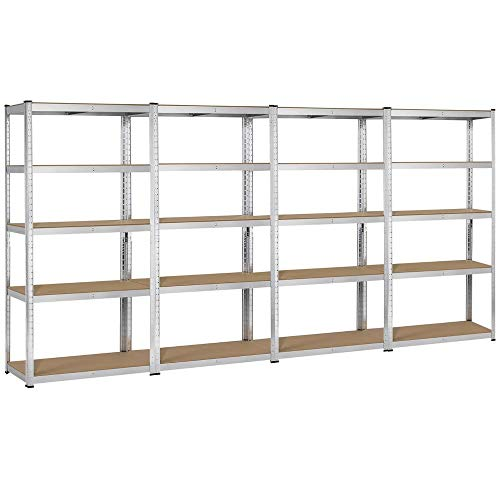 Topeakmart 5 Tier Storage Rack Heavy Duty Adjustable Garage Shelf Steel Shelving Unit,71in Height, 4 Bay Garage Shelf