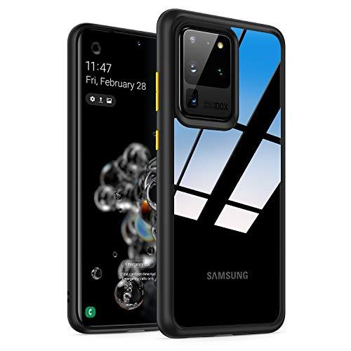"""Eono von Amazon - Hybrid Clear für Samsung S20 Ultra Hülle 【Nicht für S20 FE】, Transparent [Nie-Gelb] Schlanke dünne Hülle mit stoßfester Handyhülle für Samsung Galaxy S20 Ultra Hülle 6.9"""" Schwarz"""