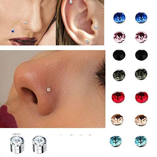 Hinter Ohrstecker, Kristall, Nase, Ohr, Lippe, kein Piercing, Tragus, Nasenstecker, 8 Paar/Pack 5 mm (8 Paar)