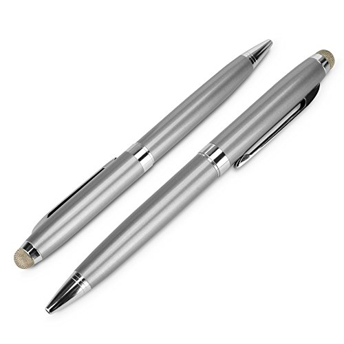 ASUS Zenbook UX305 Stylus Pen, BoxWave [EverTouch Meritus Capacitive Styra] Capacitive Stylus with Rollerball Pen for ASUS Zenbook UX305 - Metallic Silver