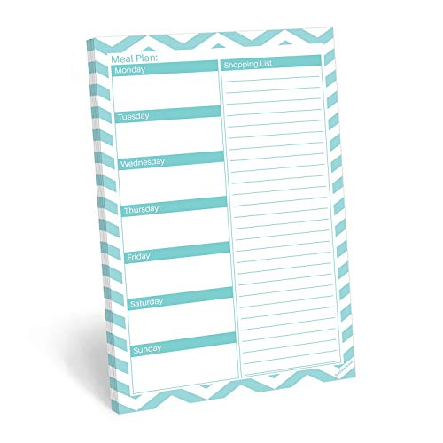 "321Done Meal Planning Notepad - 50 Sheets (5.5"" x 8.5"") - Weekly Meals Planner Shopping List Menu Groceries Grocery List, Tear Off Memo Pad - Made in USA - Chevron Teal"