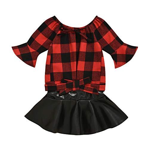 Kinder Baby Mädchen Ausgestellte Ärmel Rot Plaid Shirt Tops + Schwarze Lederröcke Kleinkind Mädchen Herbst Winter Kleidung, Rot, 90, 18-24 Monate