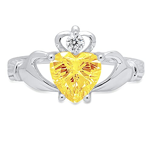 1.49ct Heart Cut Irish Celtic Claddagh Solitaire Natural Yellow Citrine Gemstone Ideal VVS1 Engagement Promise Statement Anniversary Bridal Wedding ring 14k White Gold, Size 6