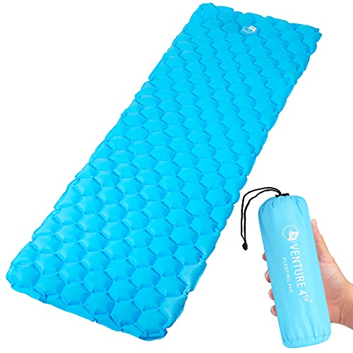Ultralight Air Sleeping Pad - Lightweight, Compact, Durable – Air Cell Technology for Added Stability and Comfort While Backpacking, Camping, and Traveling (Light Blue)