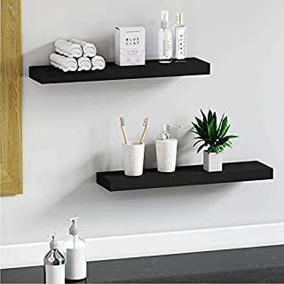 Dime Arts Shoppee Wall Mounted White Floating Shelves Set of 3 Decorations,Books,Photos,Potted Plants (Black)