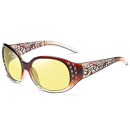 AEF Gafas Conducción Nocturna para Mujeres Gafas De Visión Nocturna Redondas con Estilo Retro Protección 100% UV, Marco Ultraligero,2