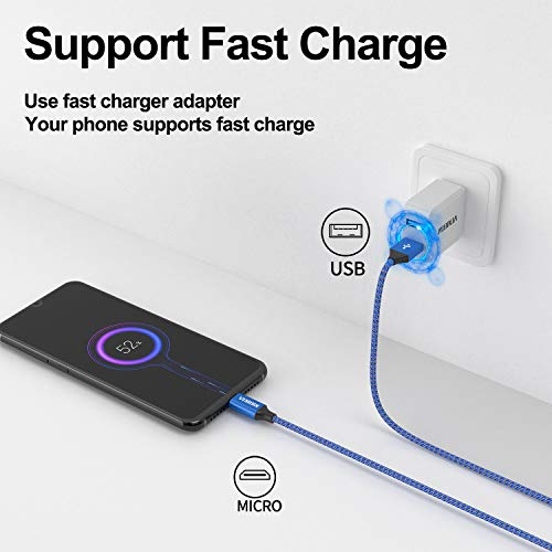 NIBIKA Micro USB Kabel, [2Stück 0.5M] Nylon geflecht Android Schnellladekabel Micro USB Ladekabel für Samsung Galaxy S7/ S6 / J7/ Note 5,Sony, Huawei, Nexus,Motorola
