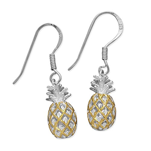Sterling Silver with Yellow Gold Tone Accents Pineapple Dangle Earrings