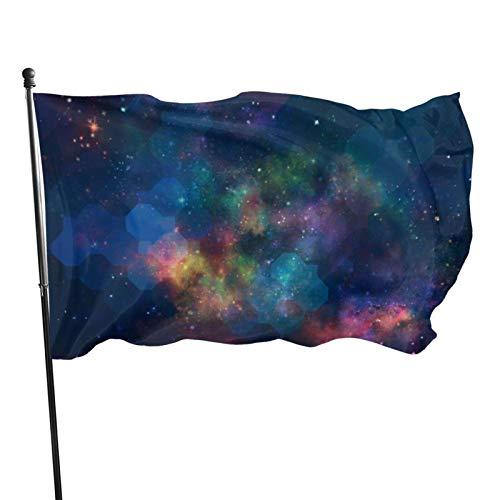 AOOEDM Bandera de jardn de galaxia con pintura de acuarela abstracta de temporada, bandera de juego, 3 x 5 pies