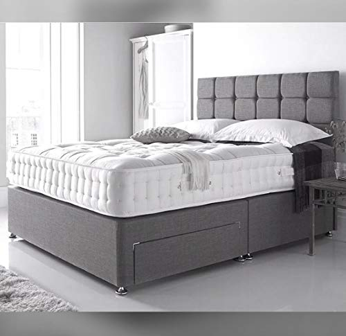 divan beds Double - Grey Linen set with 4 drawers free Diamante cubed Headboard and Orthopedic spring mattress