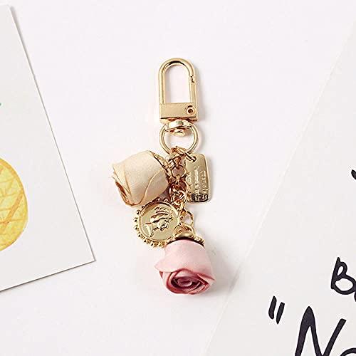 Charm Rose Flower Keychain Mujer Colgante Joyas Lady Couple Bag Moda Charm Flower Keychain Party Gift-Pink