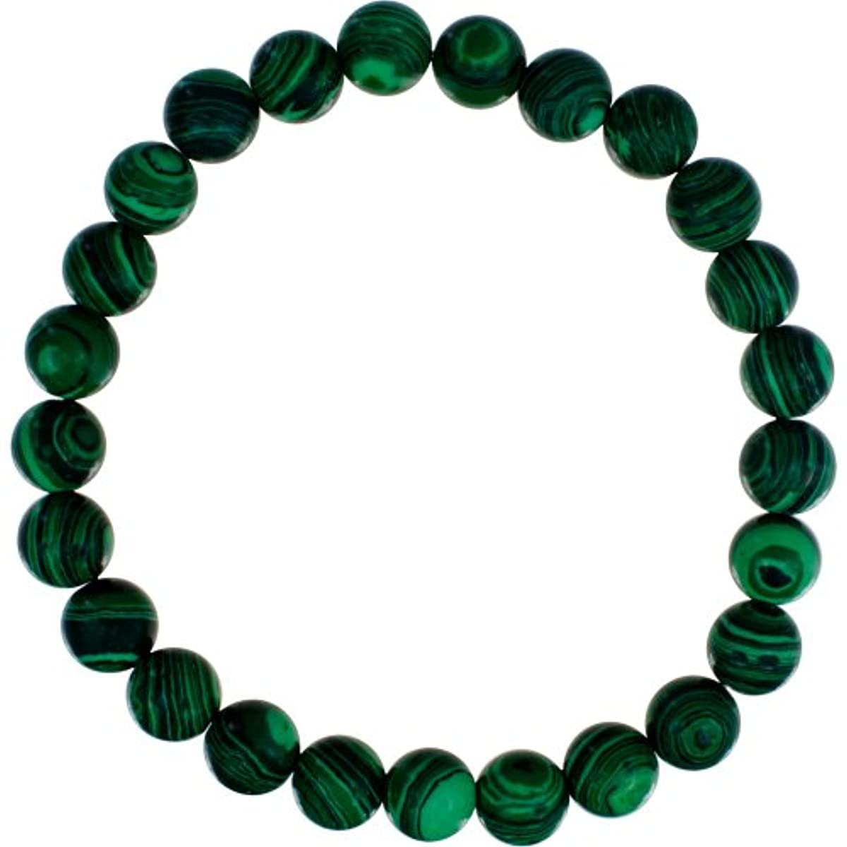 Elastic Bracelet 8mm Round Beads - Synthetic Malachite