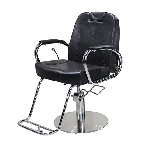 FLAMY Sillones peluqueria,Sillón de barbero reclinable hidráulico para peluquería,Asiento ensanchado y Bomba hidráulica de elevación,reposapiés Cromado,Resistente,Equipo de Belleza para salón,Negro