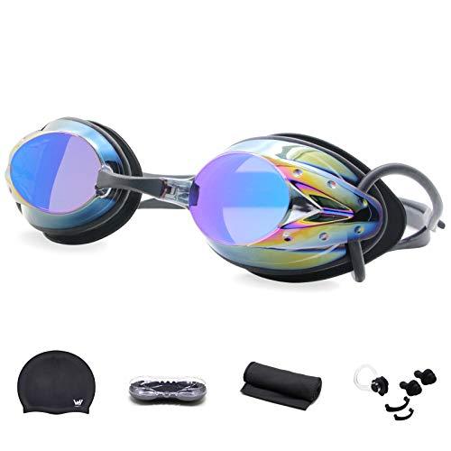 WHCREAT Schwimmbrille Set, Kein Auslaufen Taucherbrille mit Antibeschlag UV-Schutz Verspiegelt Objektiv für Männer, Frauen und Kinder 10+