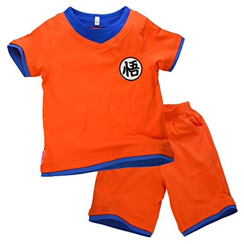 papapanda Kinder Kostüm für Drachen Son Goku T-Shirt Shorts Trainingsanzug Dragon Orange Blau (120 (5-6 Jahre))