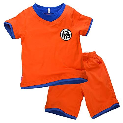 Niños Disfraz Camiseta T-Shirt Shorts para Bola del Dragón Son Goku Traje de Entrenamiento Ropa Sudadera (150 (11-12 años))