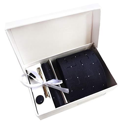 Yvelands Herren Krawatte mit Einstecktuch Set inkl. Manschettenknöpfe und Krawattennadel Herren Geschenkbox