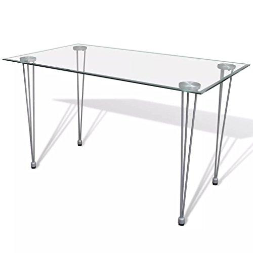 vidaXL Esstisch Esszimmertisch Küchentisch Speistisch mit Glasplatte Transparent