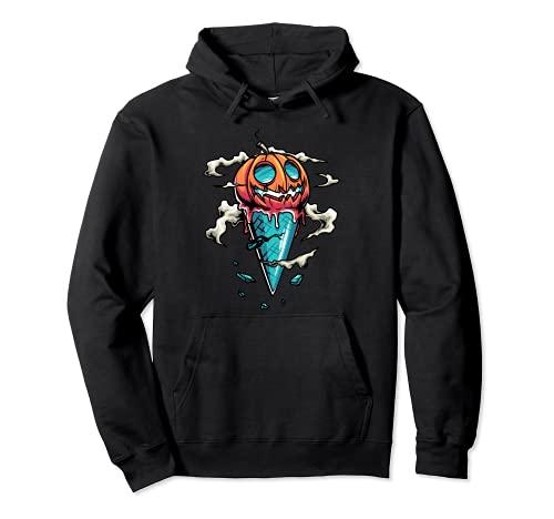 Jack O 'Lantern - Disfraz de cono de helado de calabaza para Halloween Sudadera con Capucha