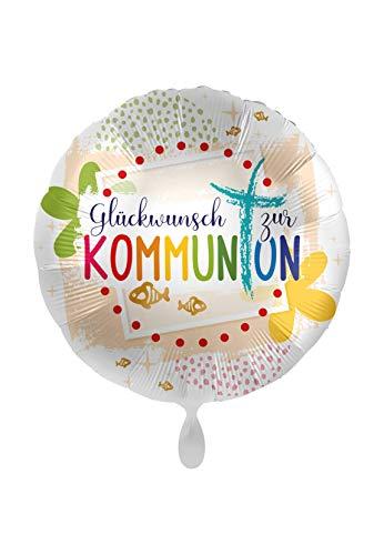 Luftballonmarkt 1 Folienballon Glückwunsch zur Kommunion bunt weiß rund 45 cm ungefüllt Ballongas geeignet