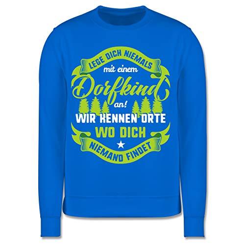 Shirtracer Sprüche Kind - Lege Dich nie mit einem Dorfkind an V2-104 (3/4 Jahre) - Himmelblau - Pullover dorfkind - JH030K - Kinder Pullover