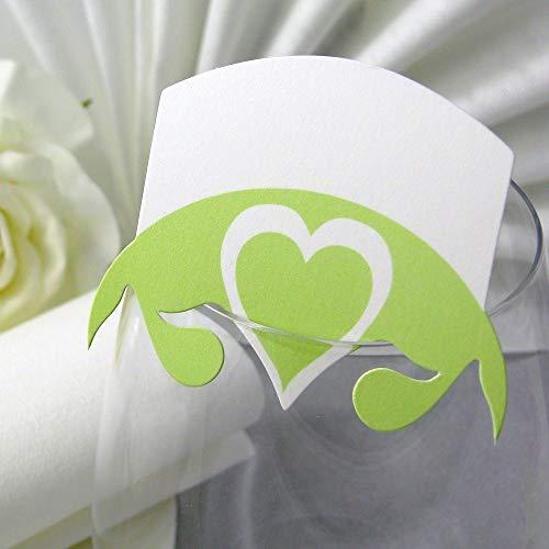 EinsSein 10x Tischkarten Hochzeit Herz Blatt hellgrün Hochzeit, Tischkarten, Platzkarten, Namenskarten, Herz Schmetterling Stuhl Rosen Ringe