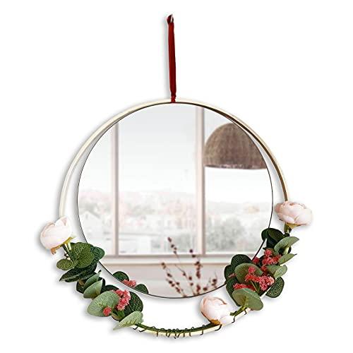 Espejo Redondo Pared Colgante Ideal para Decoracion hogar, Habitacion, Recibidor Entrada Espejo Pared, Espejo Recibidores de Entrada, Espejo sin Marco, Espejos Decorativos de Pared