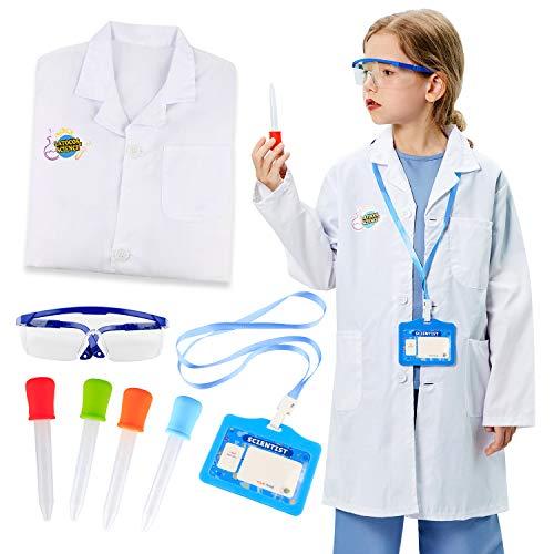 Tacobear Bata de Laboratorio Niño con Goggles Gafas Pipetas Cuentagotas Personalizado ID Card Juegos Experimentos Disfraz de Científico Juego de rol para niños