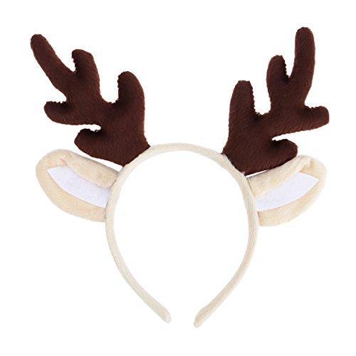 Tinksky Weihnachten Kinder Stirnband, Rentier Geweih Haarband Headwear Haarband Kopf Boppers Haarspange für Kinder Weihnachten Kostüm Party (braun)