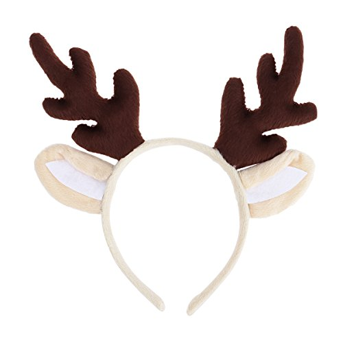 LUOEM Christmas and Holiday Party Headband Reindeer Antler Hair Hoop Headwear for Children Adult Costume Party (Brown)