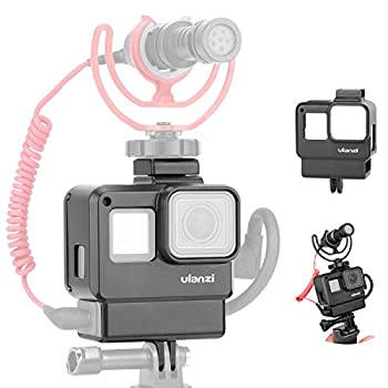 V2 Housing Case Vlogging Frame with Microphone Cold Shoe Mount Compatible for GoPro Hero 7 6 5 Mic Audio Adapter Action Camera Accessories