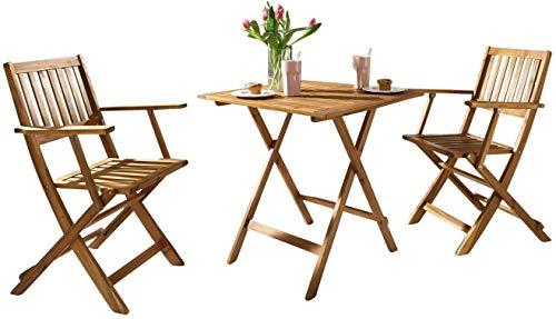 SAM 3-TLG. Balkongruppe Camelia, Akazien-Holz, 1 Tisch 62x62 cm + 2 Klappstühle, Set klappbar, massives Balkonset