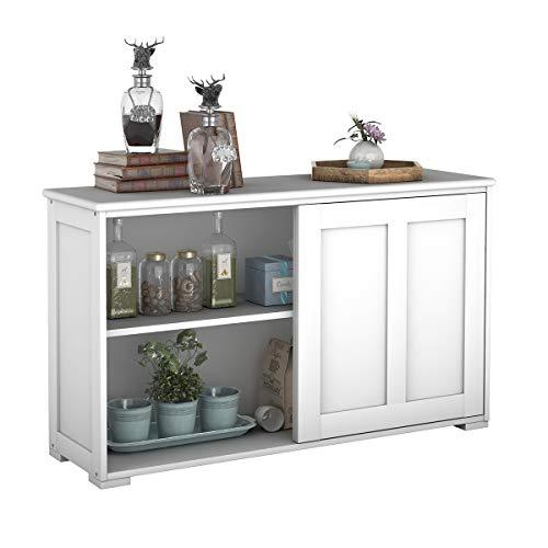 COSTWAY Sideboard Küchenschrank Badkommode Wohnzimmerregel Beistellschrank Anrichte Mehrzweckschrank mit Schiebetüren (Weiß)